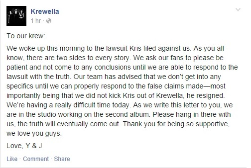 Krewella response facebook screenshot